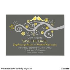 Whimsical Love Birds Card Whimsical Love Birds design on a Save the Date engagement announcement with insert for one photo