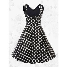 1950s Vintage Square Neck A-line Polka Dots Dress(Get it within 3... ($27) ❤ liked on Polyvore featuring dresses, vintage day dress, polka dot a line dress, a line dress, dot print dress and vintage a line dress