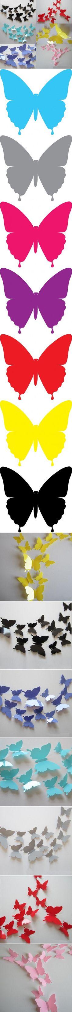 De DIY Decoración de la pared vacía con las mariposas