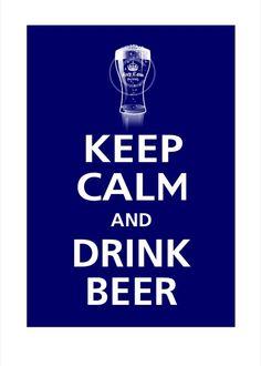 Keep Calm and DRINK BEER 13x19 Poster Deep Navy par PosterPop, $15,95