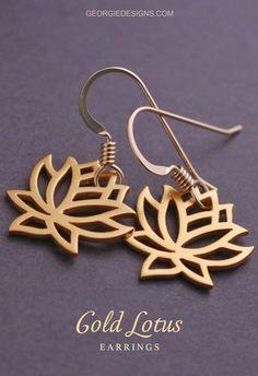 Lovely Gold Lotus Earrings.