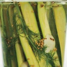 Zucchini Dill Pickles recipes Recipe - Edamam Zucchini Pickles, Asparagus, Vegetables, Recipes, Food, Studs, Pickled Zucchini, Essen, Eten