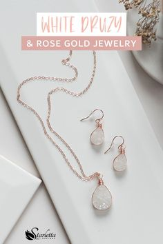 These unique white druzy quartz teardrop earrings are delicately wrapped by hand using 14kt rose gold fill wire and 10x14mm beads. Because of the nature of the beads, no two pairs of these dangle earrings will be exactly the same!  They are exceptional earrings that will be perfect for your jewelry collection! #whitedruzy #rosegoldearrings #druzyquartz #druzyearrings #handmadejewelry Druzy Jewelry, Rose Gold Jewelry, Rose Gold Earrings, Gemstone Necklace, Women's Earrings, Handmade Bridal Jewellery, Wedding Jewelry, Bohemian Style Jewelry, Druzy Quartz