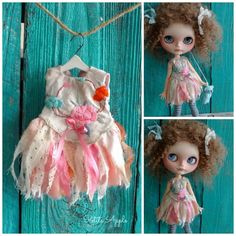 Blythe doll outfit *Spring fae* -OOAK vintage silk embroidered FAIRY dress