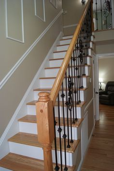 Red Oak Stair Treads with Red Oak & Iron Stair System