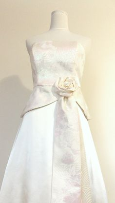 Wedding dress made with vintage bridal KIMONO, ivory opal brocade peacock flower pale pink green white bow OBI rose made to order by Shantique on Etsy https://www.etsy.com/listing/201877608/wedding-dress-made-with-vintage-bridal