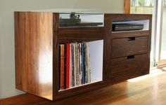 custom floating record player cabinet. Gorgeous