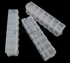 Boîte à bijoux de perles , plastique, rectangle, translucide, blanc, 155x34.50x18mm, Vendu par paire,perles bijoux en gros de Chine