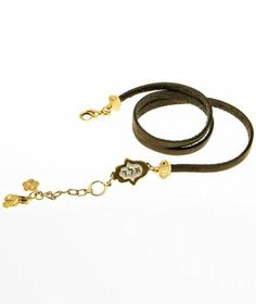 Triple-Wrap Brown Leather Bracelet With Gold Hamsa