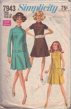 MOMSPatterns Vintage Sewing Patterns - Simplicity 7943 Vintage 60's Sewing Pattern BRILLIANT Mod Twiggy Space Age Inverted Skirt Pleats Nehru Collar Dress Set, 3 Styles Size 14