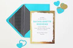 Teal Gold Modern Bachelorette Party Invitations Vellum & Vogue via OSBP