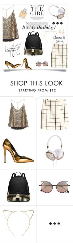 """""""It's My Birthday!"""" by virginiastylegorgeous ❤ liked on Polyvore featuring Kershaw, H&M, Giuseppe Zanotti, Frends, MICHAEL Michael Kors, Bellagio, Linda Farrow, BP., Kate Spade and Diego Percossi Papi"""