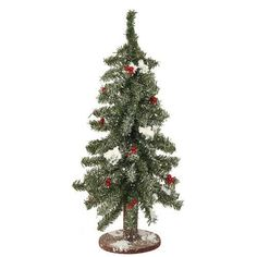 """18"""""""" Flocked Red Berry Pine Mini Village Artificial Christmas Tree - Unlit"""
