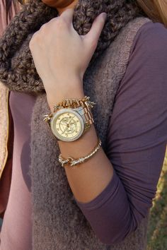 Michael Kors watch with the Stella and Dot bracelets -  shop now or repin for a chance to take home free http://www.stelladot.com/denikaclay