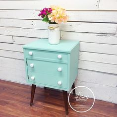 Mid Century side table painted in Laurentien from Fusion Mineral Paint Furniture Makeover, Diy Furniture, Furniture Design, Green Furniture Inspiration, Painted Bedside Tables, Turquoise Furniture, Mineral Paint, Hand Painted Furniture, Do It Yourself Home