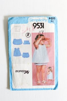 Size 1: Simplicity 9531, Vintage Baby Toddler Sundress and Bloomers Pattern, Circa 1980 Baby, Toddler, Children's Clothing www.etsy.com/shop/petitpoesy