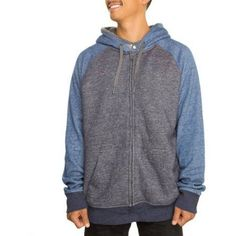 Faded Glory Big Men's Colorblock Sherpa Hoodie, Size: 4XL, Blue