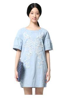 T Positioned Embroidered Slim Denim Dress [1872] – Obuzu