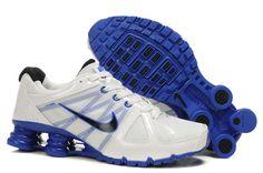25d9e3c3240f Nike Shox R6 Shoes White Blue Mens 1486335 Cheap Puma Shoes