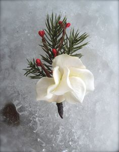 Evergreen Winter Wedding Boutonniere by TellableDesign on Etsy