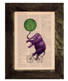 Vintage book print Circus Elephant  on a bicycle Print by PRRINT, $6.99. So whimsical!
