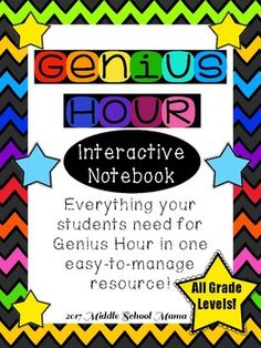 Genius Hour is a totally immersive, interactive learning experience. So why should our students use a boring old notebook to keep track of their progress? This resource includes: A Notebook Cover A Genius Hour Definition Card A Rules Reminder Card 4 Brainstorming Flaps 4 Brainstorming Circles (use one per