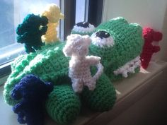 crocodile puppet and 5 little monkeys amigurumi crochet original creation no pattern by emma perez-valle