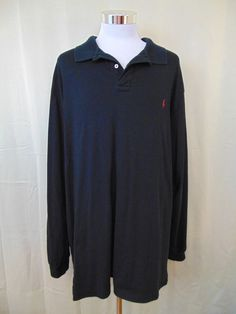 Polo Ralph Lauren Shirt Cotton Black Long Sleeve 3XLT Tall #1043 #PoloRalphLauren #PoloRugby