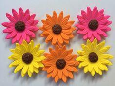 flores de fondant, 12 tri color gerbera Daisy, flores comestibles, torta cupcake decoraciones toppers boda partido dulce 16 mamás caída de acción de gracias