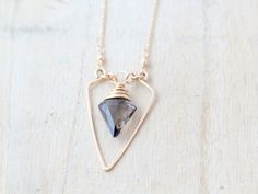 Spearhead Necklace - As displayed at the 2014 GBK Primetime Emmys Luxury Lounge /// smoky quartz & silver
