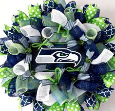 Seattle Seahawks Wreath Seattle Wreath by AnyOccasionWillDo Diy Fall Wreath, Wreath Crafts, Fall Diy, Diy Crafts, Wreath Ideas, Seattle Seahawks, Seattle Football, Nfl Football, Football Decor