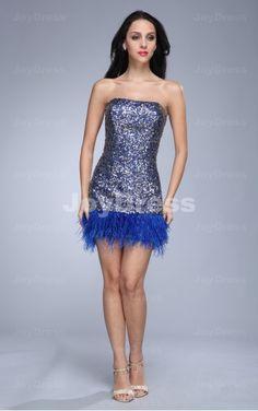 Shop petite dresses uk for girls-Fluffy A-line Strapless Short ...