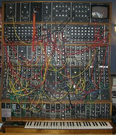 Moog. Wanna see how insane synthesizers could get? I would have a heart attack from excitement if I ever got to play with one of these!
