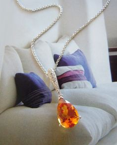 14K White Gold, Citrine & Diamond Oval Pendant with Chain #gemstones