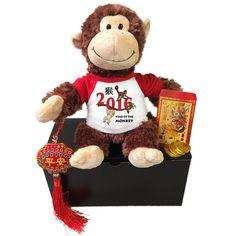 "Year of the Monkey 2016 Chinese New Year Gift Set - 12"" Plush Chimpanzee"