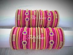 For reference Silk Thread Bangles Design, Silk Thread Necklace, Silk Bangles, Indian Bangles, Beaded Necklace Patterns, Bridal Bangles, Thread Jewellery, Earrings Handmade, Handmade Jewelry