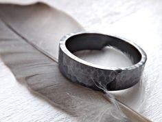 mens band silver hammered silver ring wedding band by CrazyAssJD