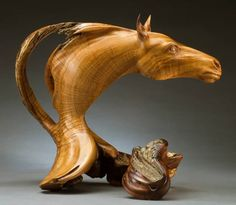 Absolute Way, wood sculpture by Christopher White - West Texas juniper on mesquite base