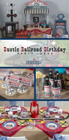 All aboard for a fun train-themed birthday party! Our new Rustic Railroad birthday party theme is perfect for celebrating your birthday engineer! Browse the entire collection for personalized favors, tablewares, and fun train cutouts! Thomas Birthday, Trains Birthday Party, Third Birthday, 3rd Birthday Parties, Birthday Fun, Birthday Ideas, Kid Parties, Theme Parties, Frozen Birthday