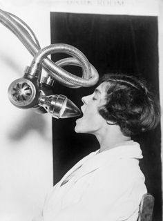 A new invention enabling to X ray the inside of a patient's mouth has caused a stir at the Medical Exhibition circa 1920 in London.