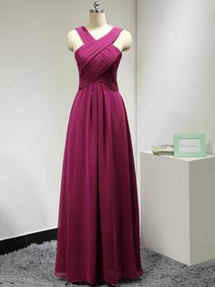 A-line V-neck Chiffon Ruched New Style Long Bridesmaid Dress - dressesofgirl.com