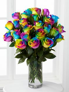 Time to Celebrate Rainbow Rose Bouquet FTD flowers