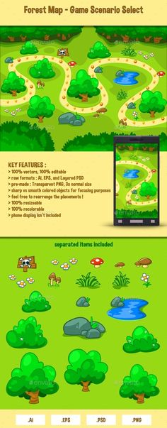 Forest Map - Game Scenario Select - Miscellaneous Game Assets