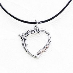 Ornate Silver Heart Necklace On Black Vegan Leather Cord, Handmade Jewelry by NorthCoastCottage Jewelry Design & Vintage Treasures. This lovely silver heart pretty much says it all. Cant go wrong, whatever the occasion. Especially perfect for Valentines Day! On an adjustable-length