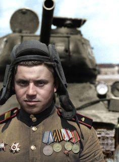 Guards staff sergeant Victor Sovetov, born 1926 in Ivanovo region, driver of SU-76 since 01.1944, 312 SPG regiment.