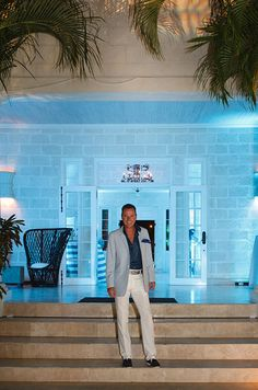 Colin looking incredibly chic in at Sandy Lane in Barbados for a beachy turquoise celebration.