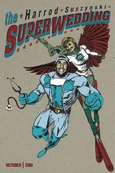 megan toms vintage superhero wedding - Superhero Wedding Invitations