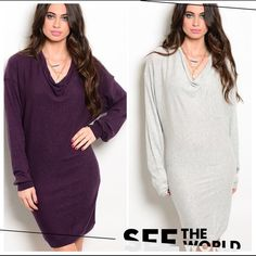 "HP 10/10COWL NECK DRESS IN PURPLE OR LT. GREY Long sleeve, half cowl neck shift dress is lightweight and easy to wear. Batwing sleeves, very comfortable. Made of 42% viscose, 39% nylon, 18% cotton, 1% lurex. 33"" long. NWOT. PLEASE DO NOT BUY THIS LISTING! I will personalize one for you.♦️CHOOSE PURPLE OR LT. GREY.♦️LARGE: bust: 45"" (Dolman) waist and hips 38"" with 4"" stretch. tla2 Dresses"