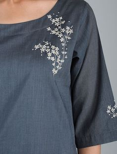 Hand embroidery dress - Buy Grey Embroidered Cotton Slub Kurta with Pants (Set of Online – Hand embroidery dress Embroidery On Kurtis, Kurti Embroidery Design, Hand Embroidery Dress, Embroidery Flowers Pattern, Embroidery On Clothes, Flower Embroidery Designs, Simple Embroidery, Embroidery Suits, Embroidered Clothes