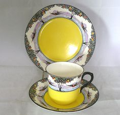 "SHELLEY China TRIO ""Vincent"" Tea Cup, Saucer & Plate SWALLOWS Patt. D.11355 /3 in Pottery, Porcelain & Glass, Porcelain/ China, Shelley 